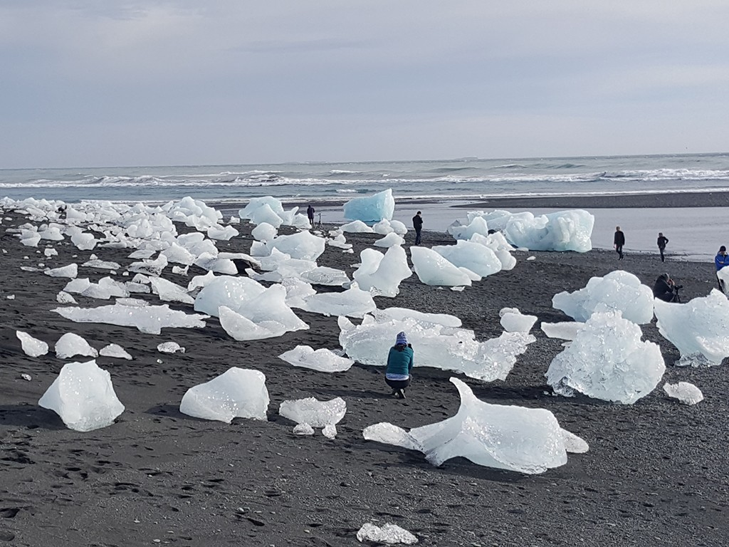 ice beach near jokulsarlon glacier in south iceland