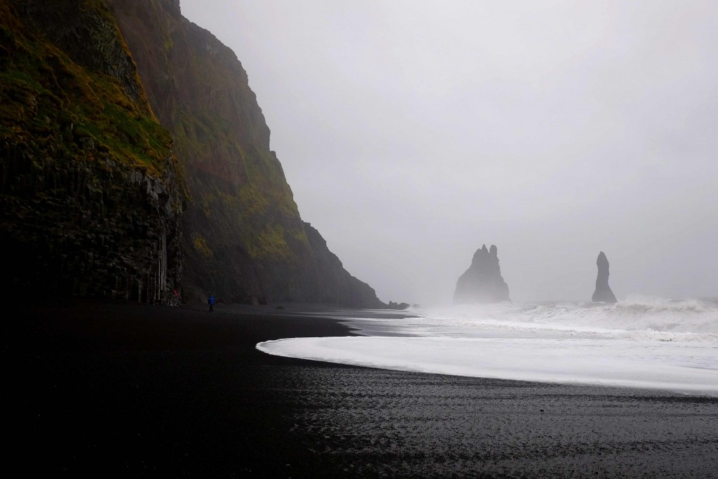 Reynisdrangar and black beach in south iceland