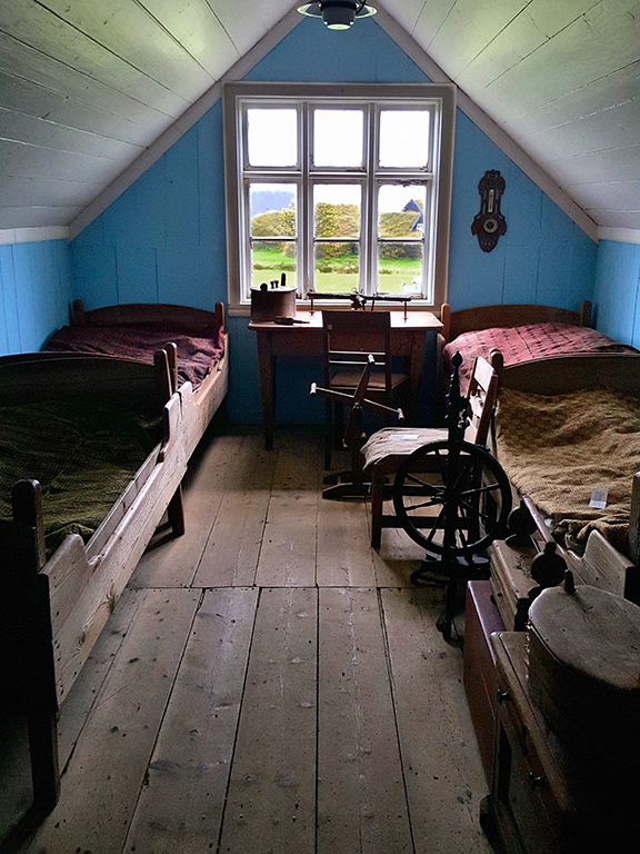 bedrooms of skogar museum in south iceland