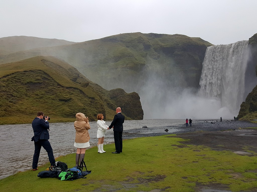 Skogafoss waterfall wedding ceremony