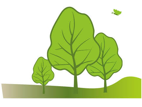 three green trees for green energy