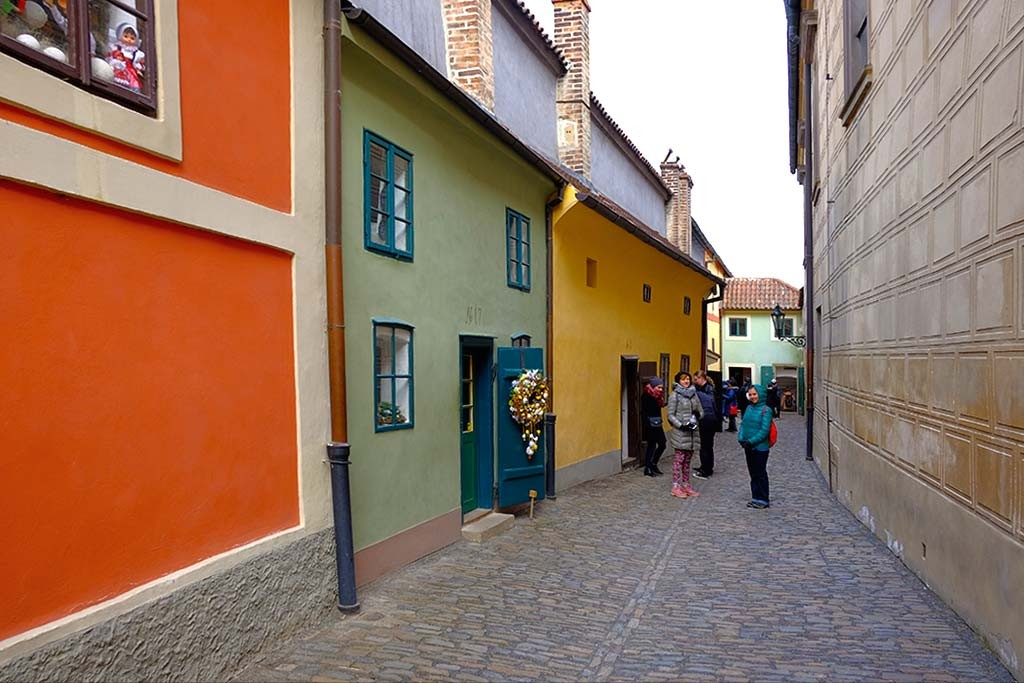 golden lane and small houses in prague castle