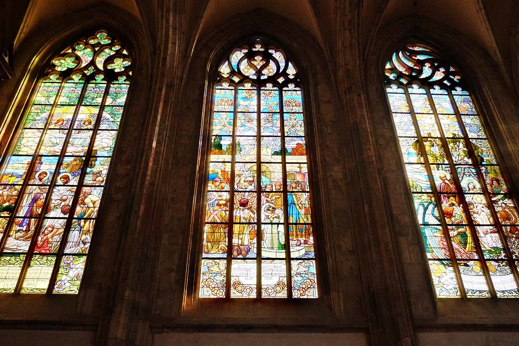 stained glass in st barbara church kutna hora