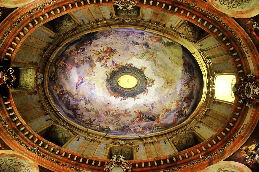 interior dome of st. peters church in vienna